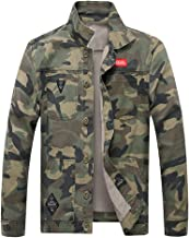 OSTELY Men's Jacket, Turn-Down Collar Camouflage Denim Outwear Autumn Winter Casual Long Sleeve Slim Fitted Tops