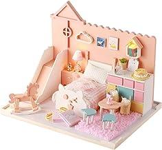 Miaoqian Casa de bonecas DIY Brinquedo Miniatura De madeira Kit Casa de bonecas Brinquedos com móveis Kit LED Presente de ...