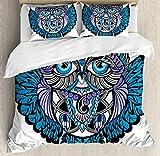 Juego de funda nórdica tribal, Owl Bird Animal con diseño de tatuaje de Paisley con estampado de pestañas Big Blue Eyes, juego de cama decorativo de 3 piezas con 2 fundas de almohada, azul marino