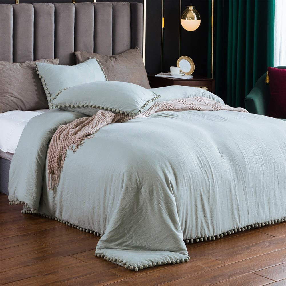 SexyTown-Green Pompom Fringe King Size Comforter Set, Winter Warm Boho Comforter Baby Soft Extra Comfortable Natural Wrinkle Bedding Comforters Best Gift for Family