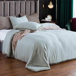 SexyTown-Sage Comforter مجموعه ملکه با حاشیه Pompom ، سبک کرکی تخت خواب زمستانی سبک و نرم کفی