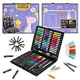 KIDDYCOLOR 150 pezzi kit da disegno tra cui pennelli da pittura, pennarelli, penne ad acqu...