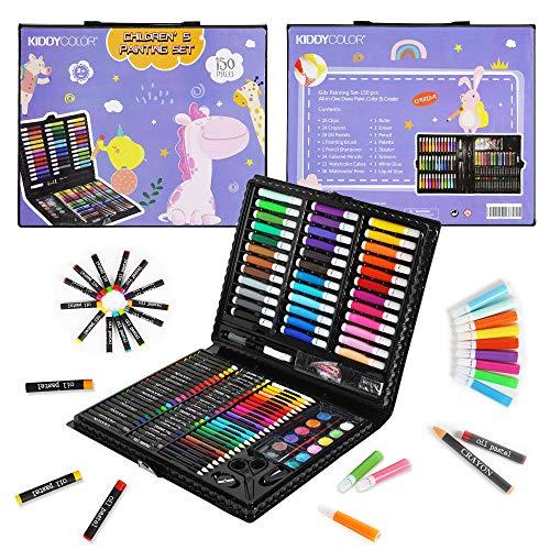 KIDDYCOLOR Conjunto Arte Deluxe en Maletín, para Niños Set Material Escolar , Incluye lápices de Colores, Pasteles de óleo, Acuarelas, Pinceles para Pintar (150 Piezas)