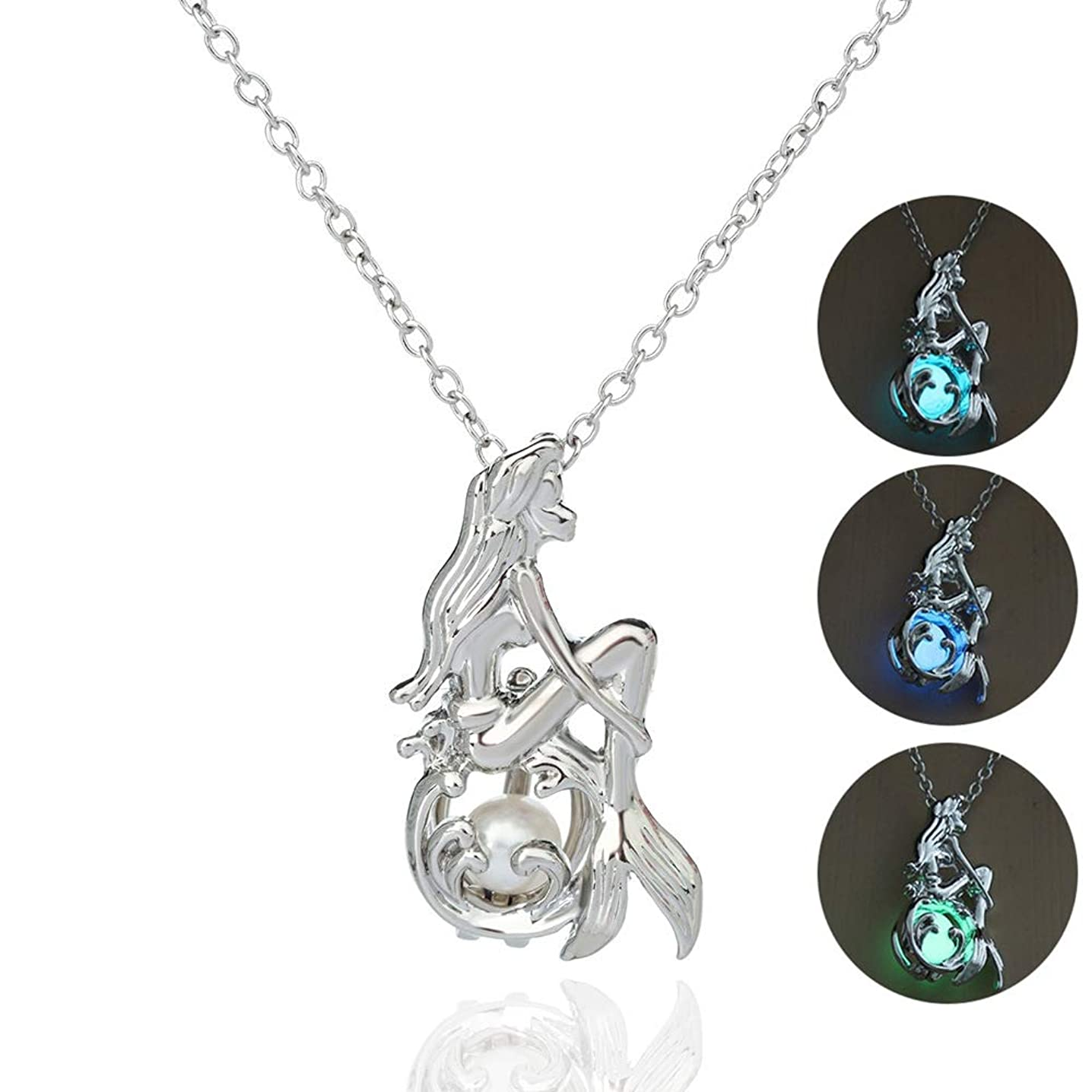 3 Colors Glow in The Dark Necklace Steampunk Hollow Pendant with Chain for Women (Mermaid)