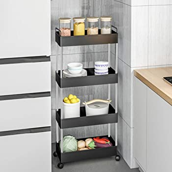 4-Tier Slim Mobile Shelving Unit Rolling Cart with Handle