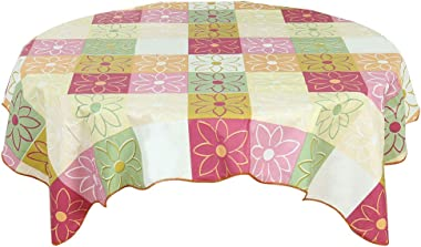 """uxcell Vinyl Plastic Tablecloth for Tables Square 53"""" x 53"""" Plaid Flower Printed, Tablecloth Decoration, Water Oil Stain Resi"""