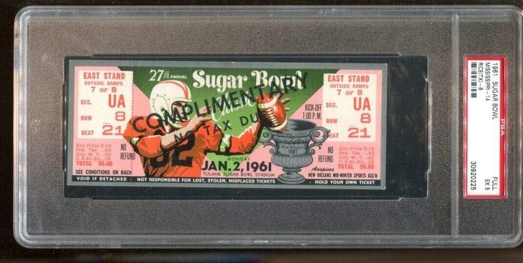 Regular discount 1961 Sugar Bowl Full Ticket Ole Miss PSA Rice Owls 022 v Rebels Indefinitely