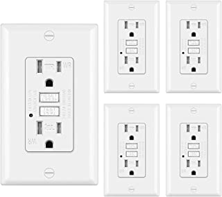 5 Pack - 15A Weather Resistant GFCI Receptacle Outlet, Ground Fault Circuit Interrupter Outlets, Wallplate Included, White