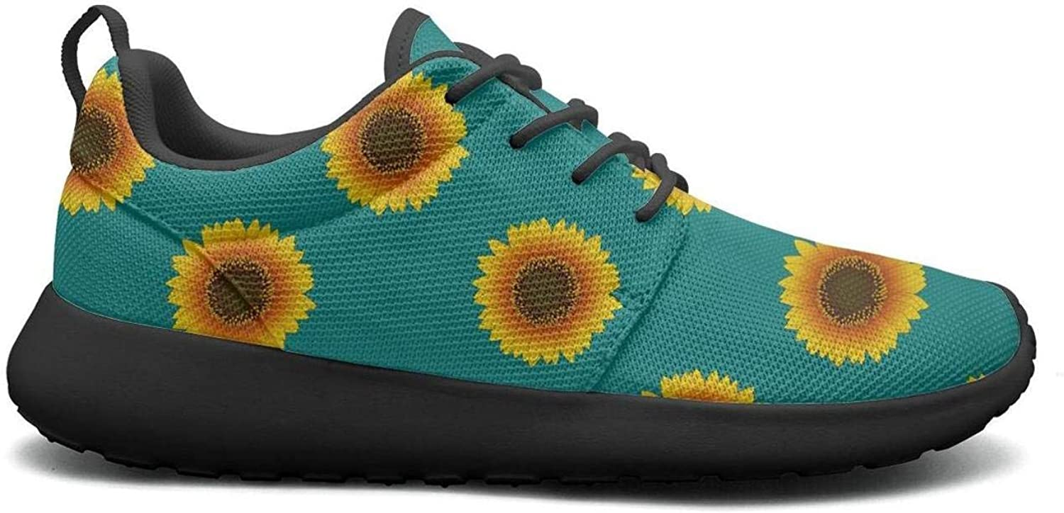 CHALi99 Casual Lady Lightweight shoes Green Sketch of Stylized golden Sunflowers Sneakers Walking Shock Absorbing