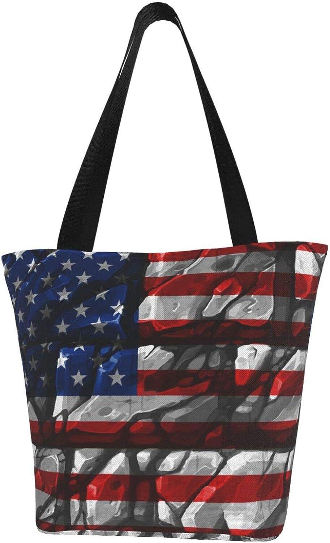 Creative Stone American Flag Art Patriot Themed Printed Women Canvas Handbag Zipper Shoulder Bag Work Booksbag Tote Purse Leisure Hobo Bag For Shopping