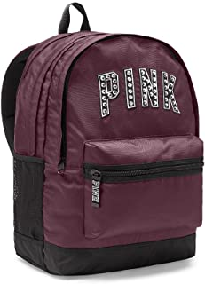 Victoria's Secret PINK Women's Bling Campus Backpack Black Orchid Maroon Studs