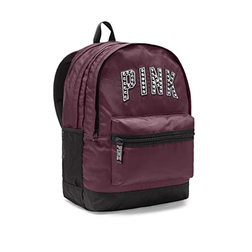 Victorias Secret PINK Womens Bling Campus Backpack Black Orchid Maroon Studs