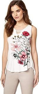 LE CHÂTEAU Floral Print Textured Knit V-Neck Top