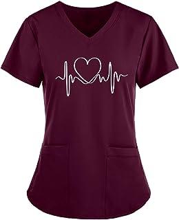 Riou Uniforme Camice Medico Donna Infermiere Divisa Infermiere a Manica Corta con Scollo V Top,Manica Corta Moda T-Shirt U...
