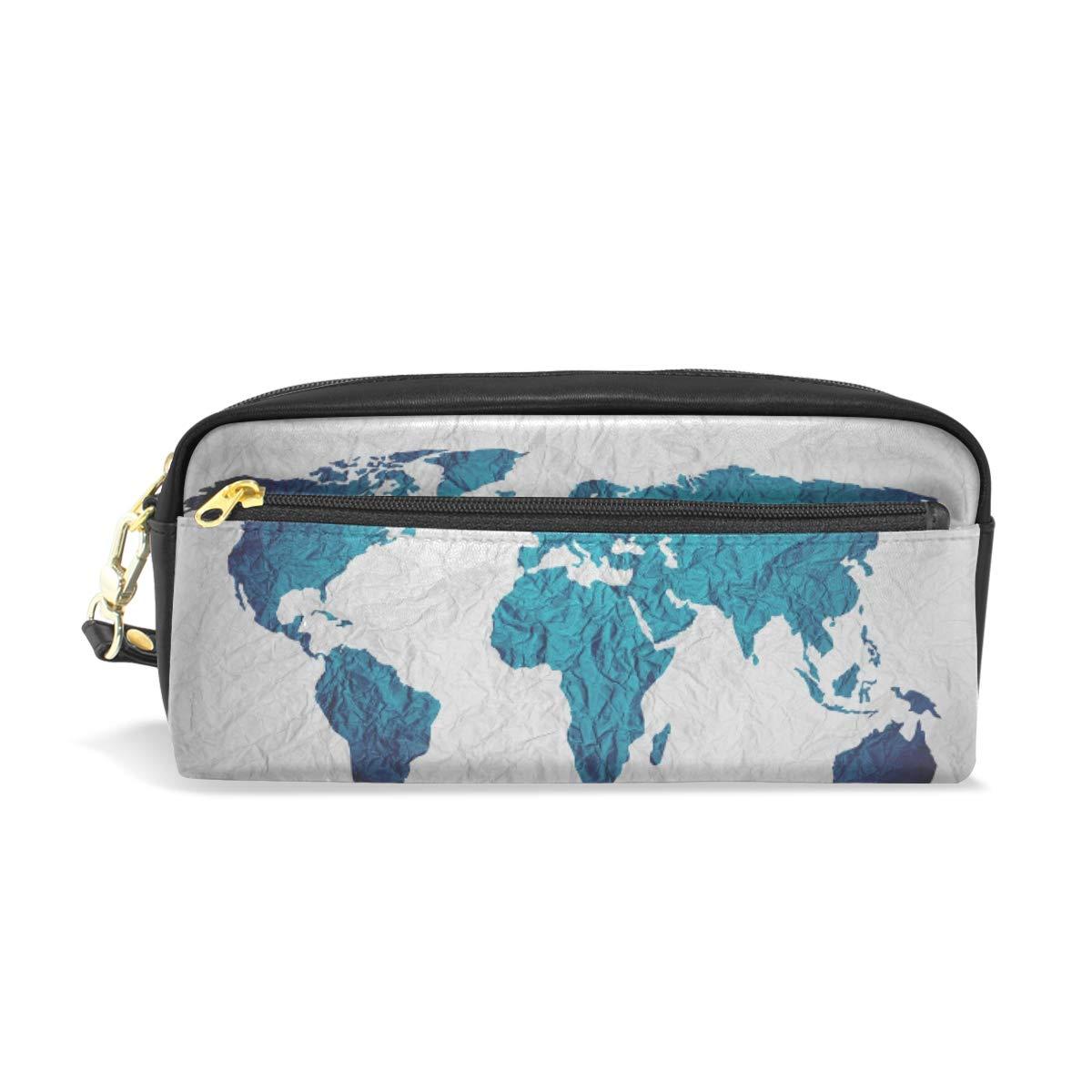 Estuche para lápices, diseño de mapa del mundo, color azul, con compartimentos para la escuela, estudiante, bolsa de cosméticos de cuero: Amazon.es: Oficina y papelería