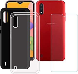 TTJ Svart + transparent fodral för Samsung Galaxy M01S + HD pansarglas, mobiltelefonfodral silikon skyddande fodral TPU Ca...
