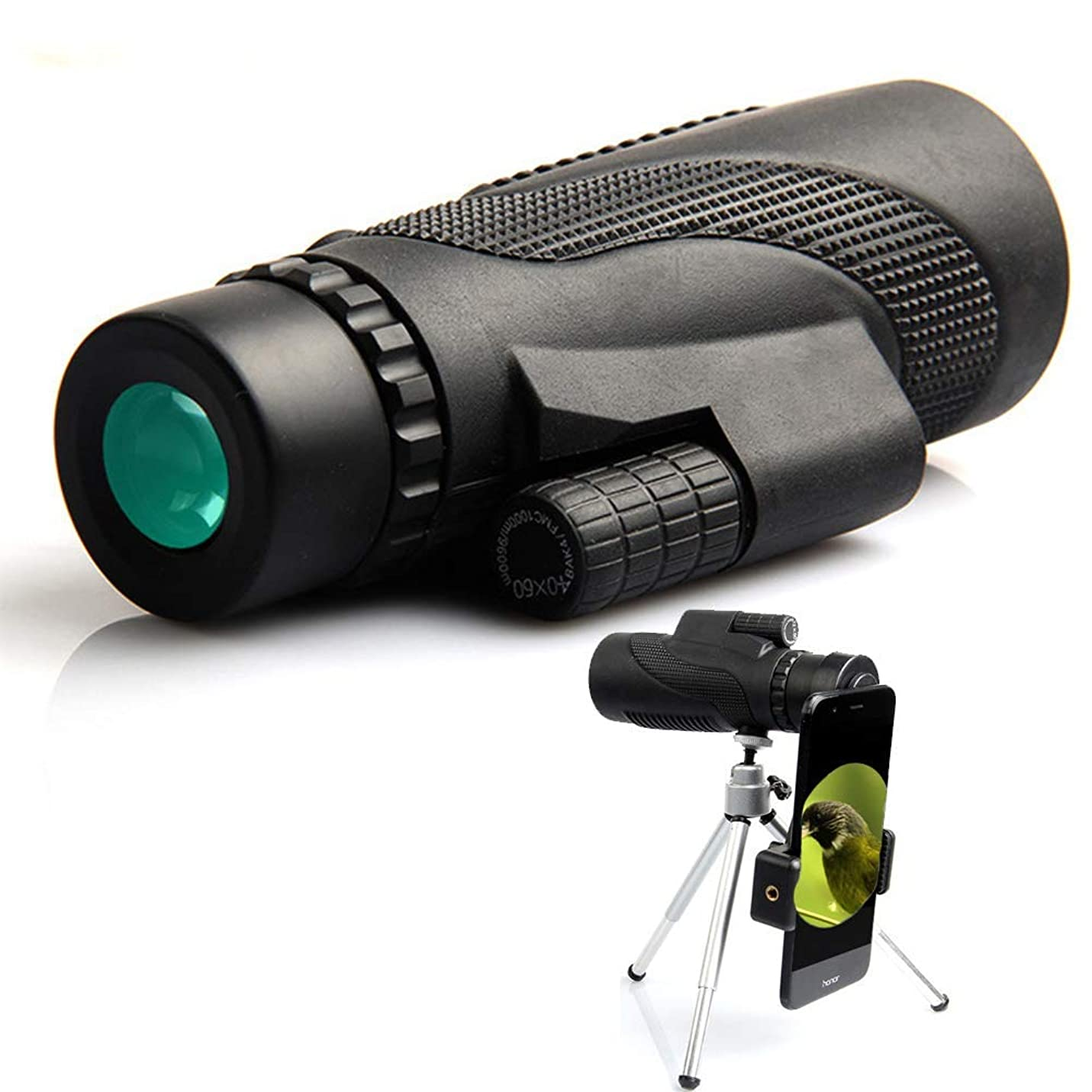 郊外急行するレビュー単眼鏡 望遠鏡 40x60 ハイパワー 耐衝撃 防水 コンパクトスコープ 携帯電話三脚 クイックスマートフォンホルダー 片手フォーカス-A1