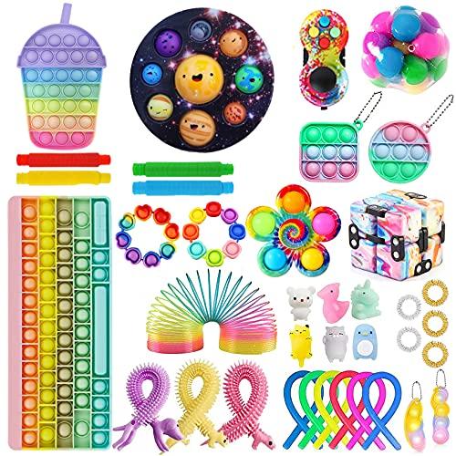 UYER Juego de juguetes fidget baratos con teclado Popitsfidgets Pop Bubble Simple Dimples, kit de juguetes para aliviar el estrés para niños y adultos (primavera # 014, 38 unidades)