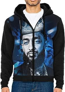Nip-sey Hussle King Men's Long Sleeve Full-Zip Hoodies Novelty Sweater Casual Sweatshirt Tops with Kanga Pocket