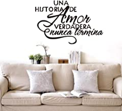 Wall Stickers & Murals Wall Stickers, UNA Historia De Amor Verdadera Nunca Termina - Espanol Quote Vinyl Wall Decals 58X38 cm