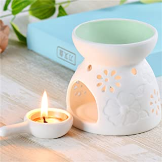 Jinvun Ceramic Wax Melts Warmer Great for Meditation, Aromatherapy – Diffuser Used with Tea Lights -Ideal for Wedding Gifts & Indoor, Outdoor Gatherings – Great Decoration Air Freshener (Green)