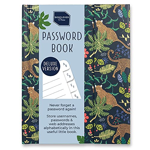 Boxclever Press Password Book with Alphabetical tabs. Never Forget a Password Again! Password Keeper for All Internet Login Details. Password Journal for Home or Office - 6 x 4.5'' (Deluxe Leopards)