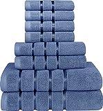 Utopia Towels - Juego de Toallas Azul Eléctrico 8 - Pieza, Toallas de Rayas de...