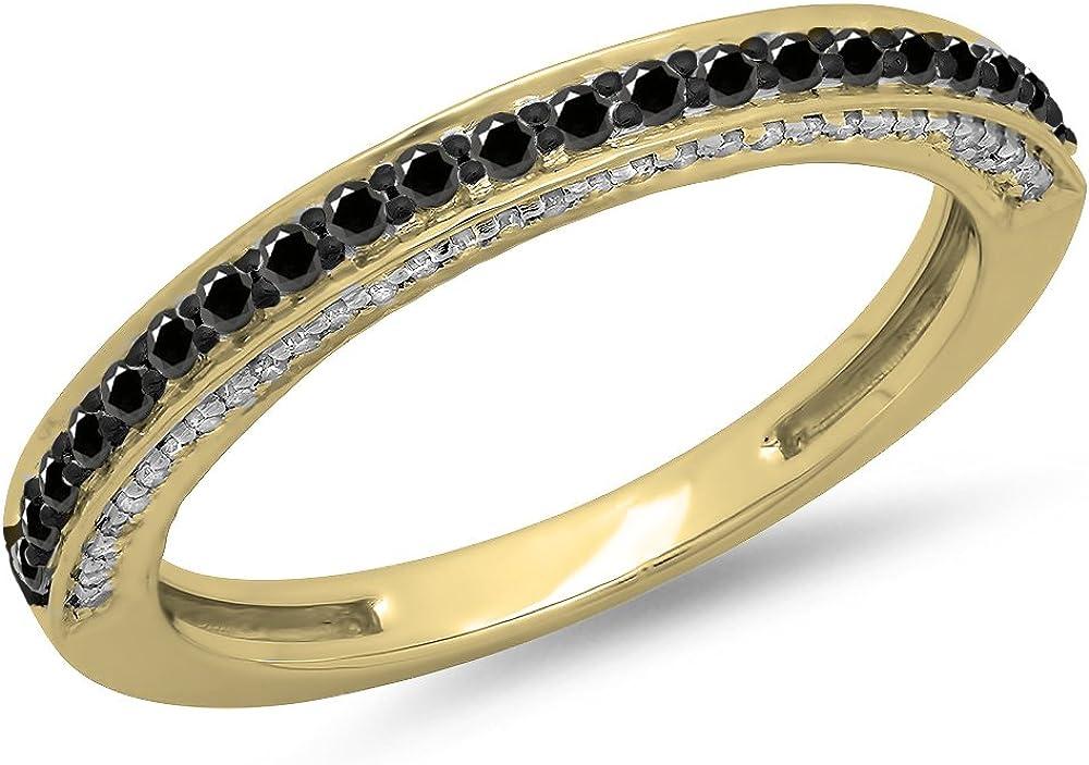 0.40 Carat (ctw) 14K Gold Round Cut Black & White Diamond Ladies Anniversary Wedding Band Stackable Ring