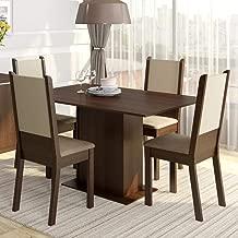 Conjunto Sala de Jantar Mesa e 4 Cadeiras Rita Madesa Tabaco