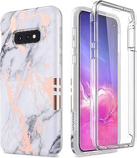 SURITCH Kompatibel mit Samsung Galaxy S10e Hülle 360 Grad Hüllen mit Integriertem Displayschutz Silikon Komplettschutz Handyhülle Schutzhülle für Samsung Galaxy S10e Marmor Schwarz Weiß Gold