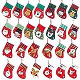SZ-LY Paquete De 26 Medias Navideñas Pequeñas, Decoraciones Navideñas para Chimeneas De 6.3', Regalo Clásico De Lujo para Niñas Pequeñas, Mini Bolsas Personalizadas para Dulces Navideños