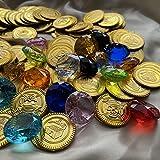 FAIRY TAIL & GLITZER FEE Cofre del tesoro relleno monedas doradas piedras preciosas diamantes niños cofre del tesoro