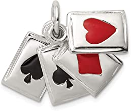 Jewelry Pendants & Charms Themed Charms Sterling Silver Enameled Playing Cards Charm