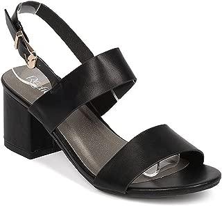 WEST COAST Westcoast Women's Chunky Ankle Strap Slingback Peep Toe Low Heel Sandal