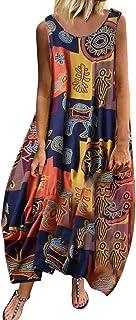 Women O-neck Sleeveless Maxi Dress ❀ Ladies Vintage Bohemian Floral Print Straps Fashion Casual Long Dress