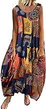 Women Vintage Bohemian Print Floral Sleeveless O-Neck Straps Beach Maxi Dress