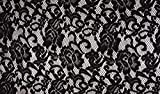 Fabrics-City SCHWARZ EDLE SPITZE BEFLOCKT BLUMENMUSTER