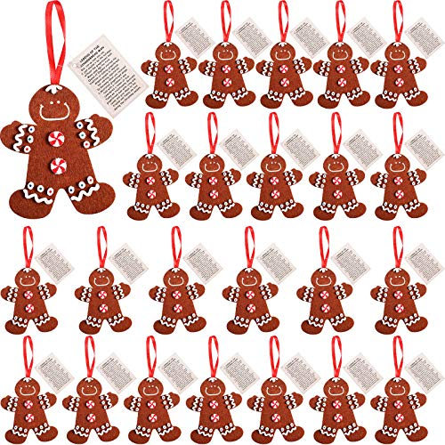24 Pieces Felt Gingerbread Man Ornaments DIY Gingerbread Man Ornament Craft Kits Bulk Christmas Ornament Foam Craft Kits for Christmas Party Supplies