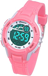 Kids Digital Watches for Girls Boys,Outdoor Sports Waterproof Multi Function Wristwatch with Alarm/Timer/LED Light/Dual Time Zone/Soft Rubber Strap for Children Gift Box (Pink 8201)
