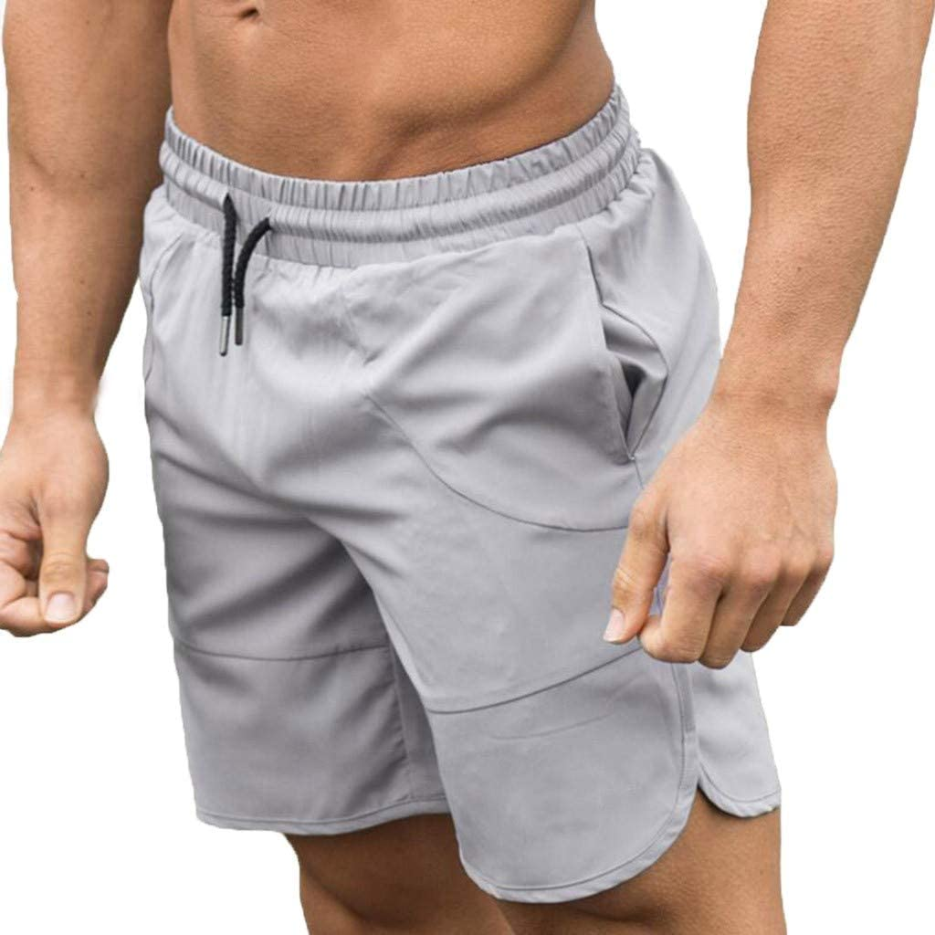 MODOQO Men's Fitness Shorts, Solid Color Quick Drying Outdoor Summer Shorts Zipper Pants with Pockets