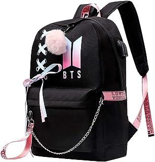 Mochila para adolescentes para niñas universitarias BTS Bookbag USB de carga y auriculares