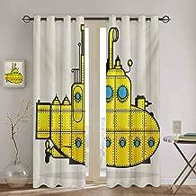 Homrkey Yellow Submarine Heat Insulation Curtain Retro Grunge Artsy Marine Vessel Industrial Nautical Ocean Theme for Living Room or Bedroom W84 x L96 inch Gray Yellow Blue