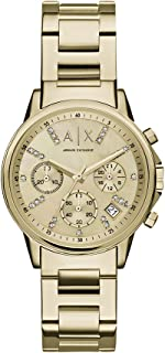 Armani Exchange Smart Women's Gold Dial Stainless Steel Band Chronograph Watch - AX4327
