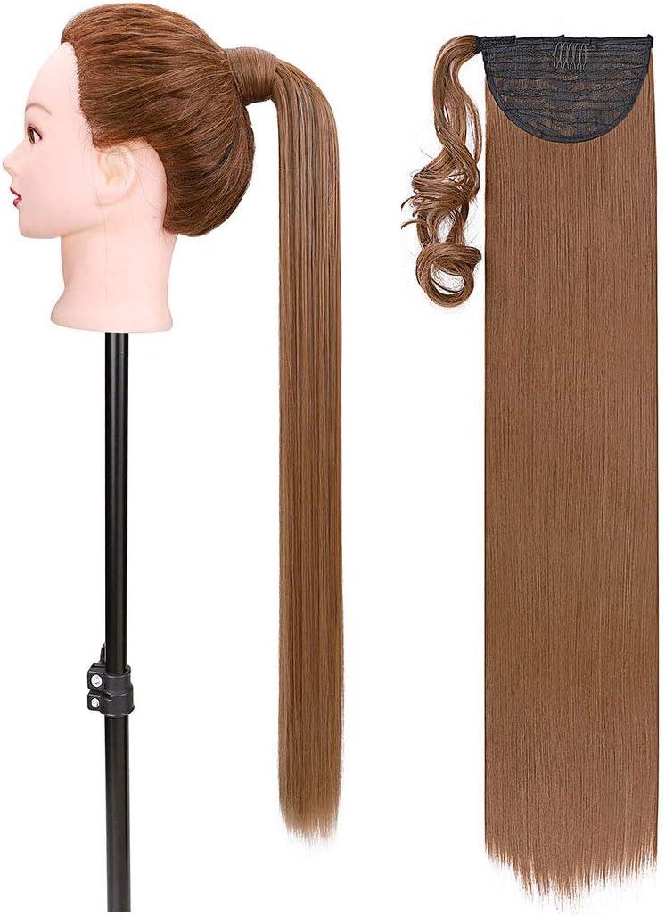 81cm Super Largo Extensiones de Clip de Pelo Natural Cola de Caballo Wrap around Ponytail Pedazo de cabello Marrón claro