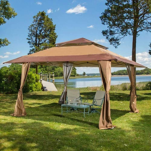 Pop-up Gazebo, shelter, Gazebo, Suitable for The Yard, Garden, Wedding,Brown