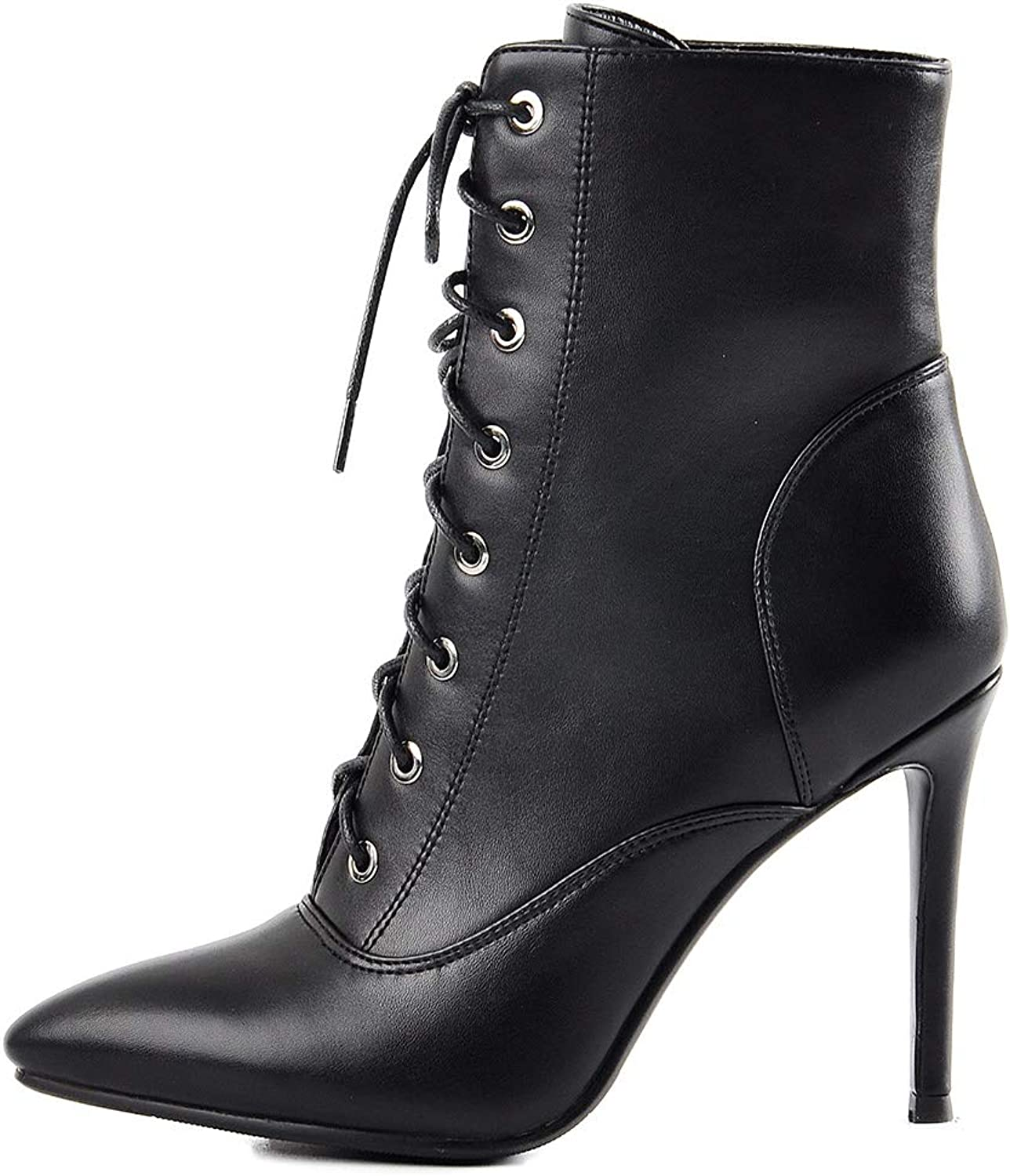 Onlymaker Women's Pointy Toe Lace up Ankle Booties Stiletto High Heel Boots