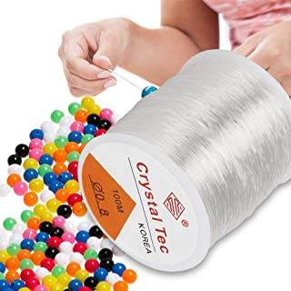 ARPDJK Transparent Elastisch Nylonfaden, 0,8mm Transparent Nylonschnur für Armbänder, Reißfest Schmuckfaden Elastisch zum Aufhängen von Dekorationen und zur Schmuckherstellung