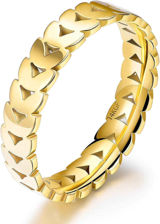 JINEAR 14K Gold Filled Olive Leaf Rings 4mm Wedding Bands for Women and Men Gold Leaves Vine Leaf Statement Stackable Ring Gift for Size 5 to 10