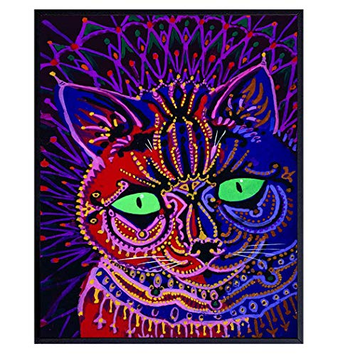 Trippy Psychedelic Cat Wall Decor - Cute Cat Wall Art - Funny Pussycat Decorations - Cat Lover Gifts for Women, Girls - Pink Cat Poster - Kitty Cat Home Decor - Boho Room Decor - Cat Themed Gifts