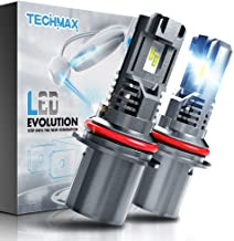 TECHMAX 9007 LED Headlight Bulb,Small Design 60W 10000Lm 6500K Xenon White ZES Chips Extremely Bright HB5 Conversion Kit of 2